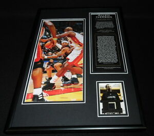 14a3324035efea Allen Iverson Framed 12x18 Game Used Warmup   Photo Display 76ers