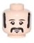 LEGO NEW DUAL SIDED LIGHT FLESH MINIFIGURE HEAD OLD FACE GRANDPA WITH MUSTACHE