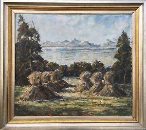 Olgemaelde-Felix-Malecki-Linden-1908-1986-Kornhocken-Wien-Osterreich-85-x-95