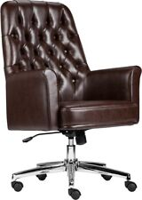 Mid Back Traditional Tufted Brown Soft Leather Executive Office Chair With Arms
