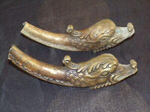 2 Anciens Pied En Bronze Décor Dragon Avec Le Meilleur Service
