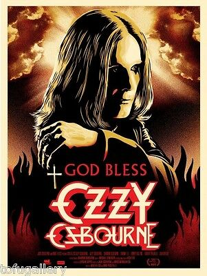 Sought-after! Orig SHEPARD FAIREY Obey GOD BLESS OZZY OSBOURNE S/N Print Poster