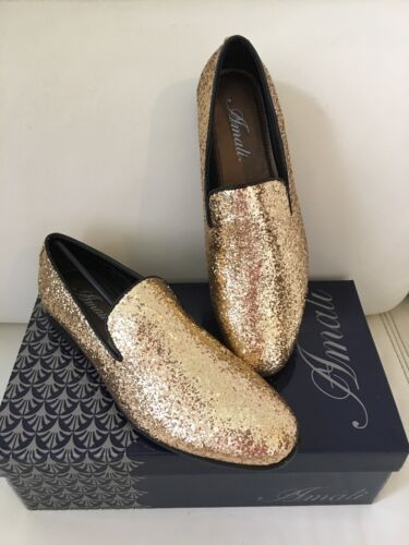 Scarpe Mens Amali Tuxedo Prom alla Wedding Slip Loafer moda Gold On Dress 6qwpzA