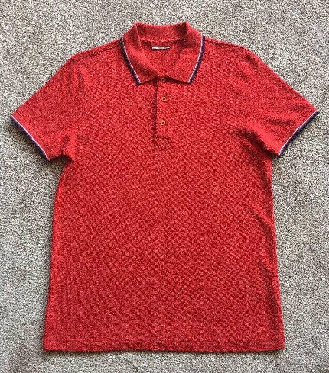 Prada Milano Men's L Short Sleeve Button Up Polo Red 100% Cotton