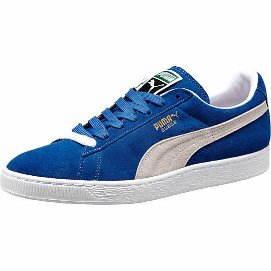 PUMA UNISEX MEN'S JUNIOR SUEDE CLASSIC OLYMPIAN BLUE WHITE 352634-64