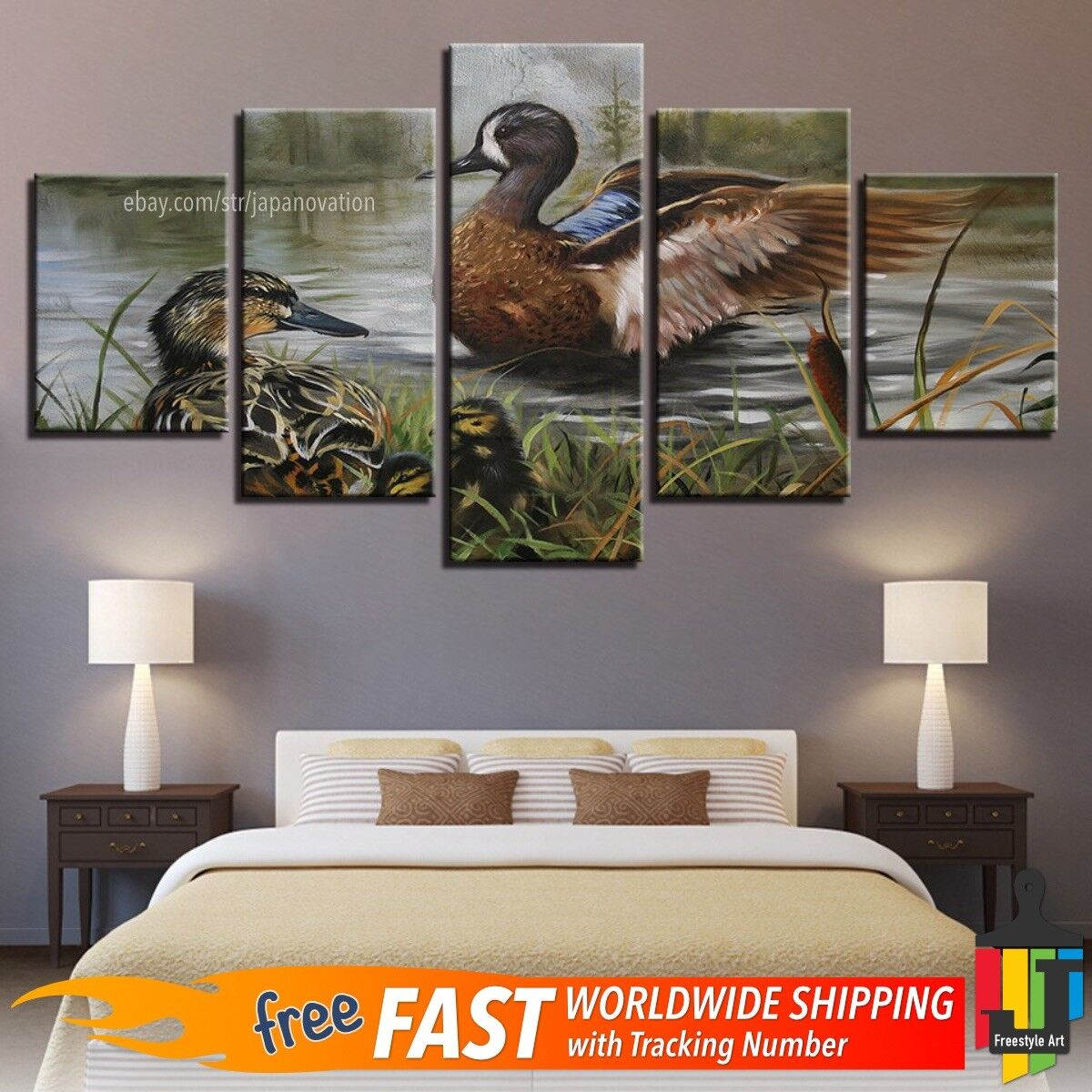 5 Pieces Home Decor Canvas Print Painting Animal Wall Art Swimming Duck Pond