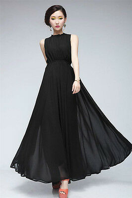 Pop Women Dress Sleeveless Chiffon Cocktail Party Evening Long Dress GTAU