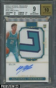 2020-21 National Treasures FOTL Gold LaMelo Ball RC Patch 5/24 BGS 9 w/ 10 AUTO