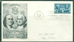US-FDC-947-CENTARY-OF-POSTAGE-STAMP-CANCL-MAY-17-1947-NEW-YORK-NY-ADDR