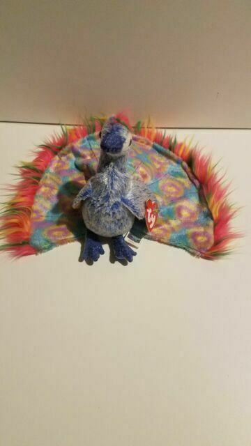 Ty Beanie Baby ~ FLASHY the Colorful Peacock MWMT 5.5 Inch