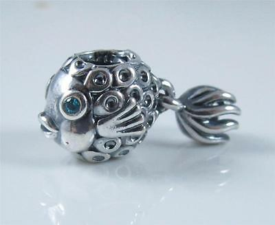 Authentic Genuine Pandora Sterling Silver Blue Cz Fish Charm 791108TPP