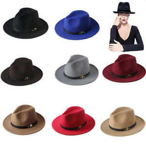 Vintage Men   Women Wool Felt Leather Band Jazz Panama Derby Fedora ... 5cdd14c6a15
