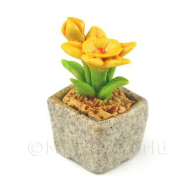 cfdy10 To Be Highly Praised And Appreciated By The Consuming Public Miniature Handmade Dark Yellow Ceramic Flower