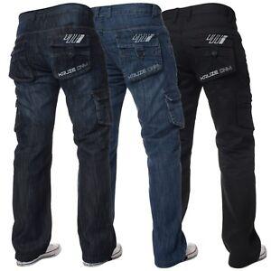 Hombre-Pantalones-De-Combate-Kruze-Disenador-Loose-Fit-Jeans-Pantalones-Cargo-Big-King-Denim
