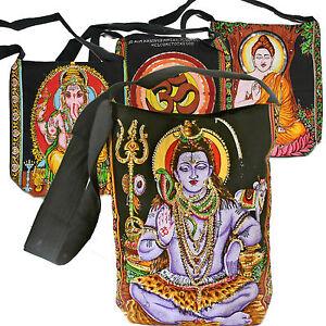 Tasche-Schultertasche-Thankga-Umhaengetasche-Schwarz-Ganesh-Buddha-Shiva-OM