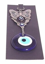 "Turkish Blue Evil large 2""1/2 butterfly2""glass eye Wall Hangi home accessory5086"