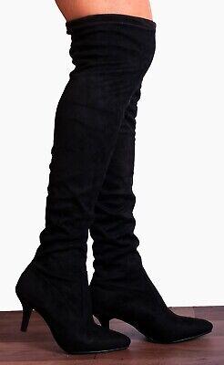 Black Over The Knee Stretch Sock Kitten Heeled High Heels Boots Heels Size 3-8