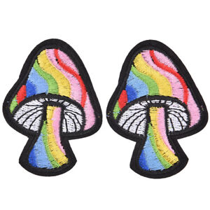 2Pcs-Mushroom-Retro-70-039-s-Hippie-Love-Peace-Embroidered-Applique-Iron-on-Patch-O