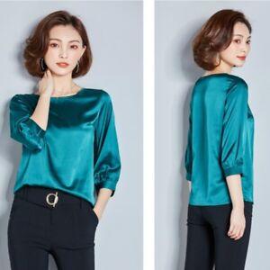 Mujeres-camisa-de-saten-de-seda-de-Elegante-Manga-3-4-trabajo-de-negocios-Suelta-Blusa-Top-faddish