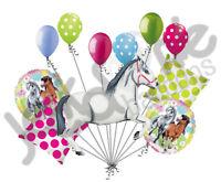 11pc White Charming Horse Balloon Bouquet Decor Happy Birthday Playing Pony Girl