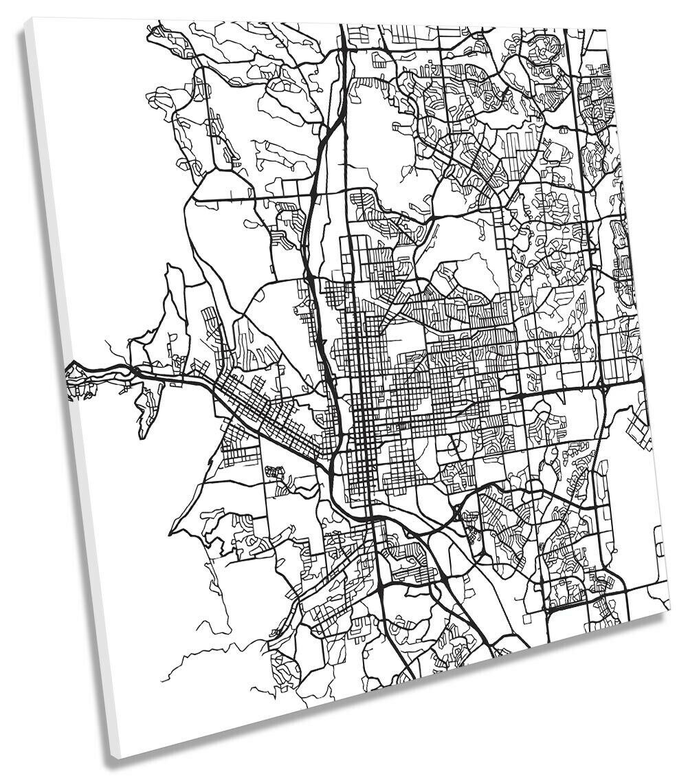 Farbeado Springs City Street Map Picture CANVAS WALL ART Square Print