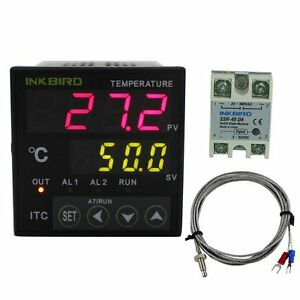 60A SSR INKBIRD 220V ITC-100VH Digital PID Temperature Controller K Sensor
