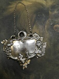 VINTAGE-SILVER-PLATE-HANGING-CHEAP-WINE-DECANTER-LABEL-REPOUSSE-GREAT-PATINA
