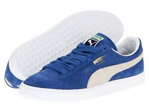 Men-039-s-Shoes-PUMA-SUEDE-CLASSIC-Casual-Sneakers-352634-64-BLUE-WHITE