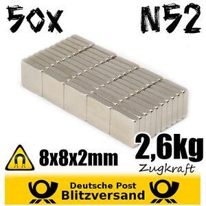 50x-Neodym-Magnet-Quader-8x8x2mm-N52-magnetisch-Postkartenmagnet-Pinnwandmagnet