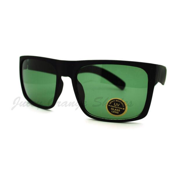 07197101140 Mens Fashion Sunglasses Matte Black Square Rectangular Frame Glass Lens