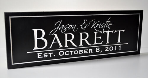 Personalized Family Name Sign Carved Engraved FN