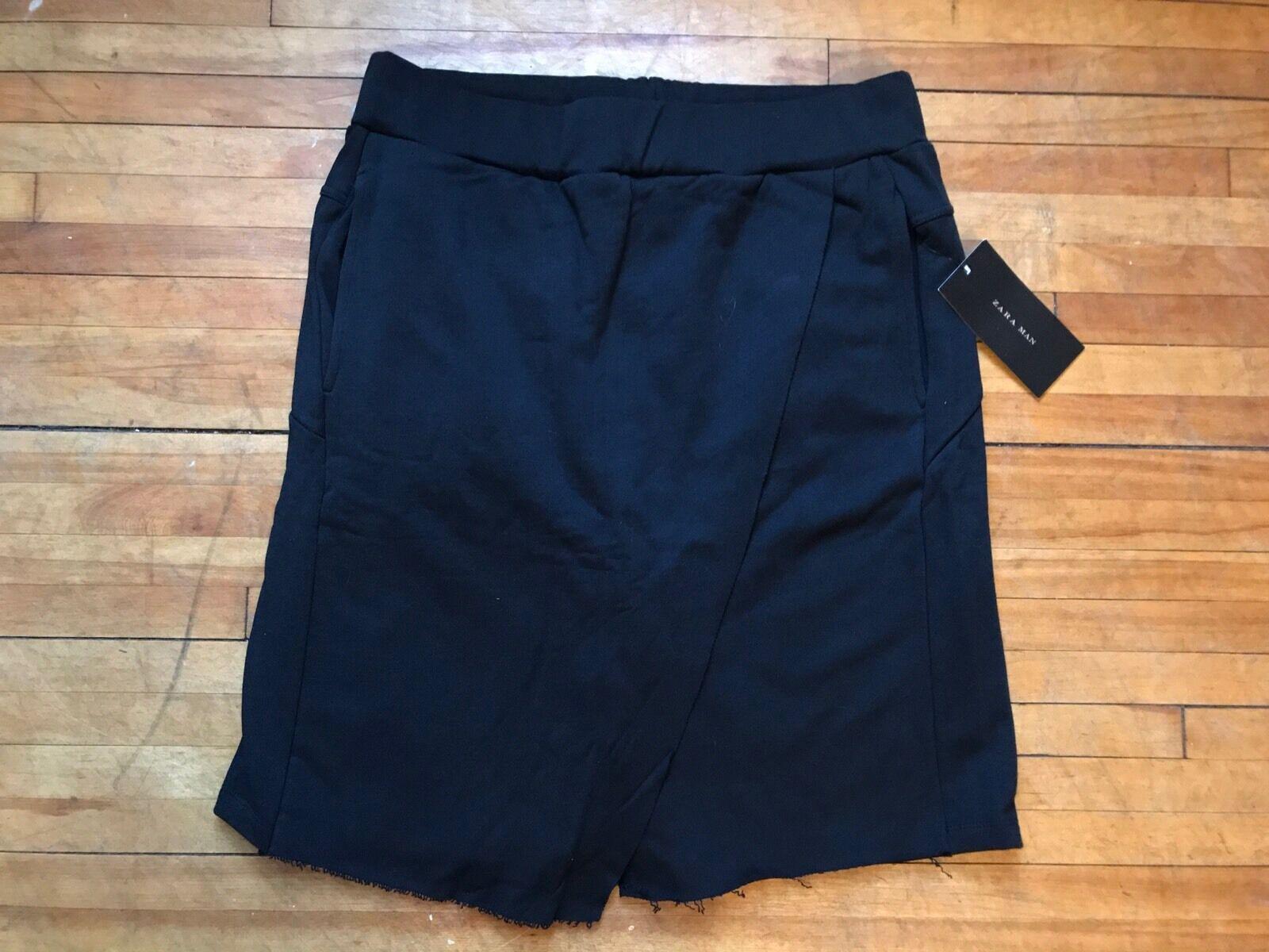 5e101f34 Zara Man RARE Avant Garde Black Asymetric Over Layers Shorts ...