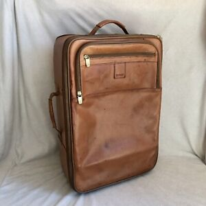 Hartmann brown leather rolling suitcase luggage carryon size 22x15x8