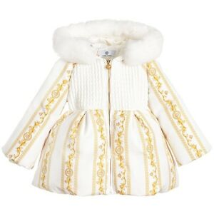 e1e6d1895 NWT NEW Young Versace baby girls ivory gold down padded coat fur 18m ...
