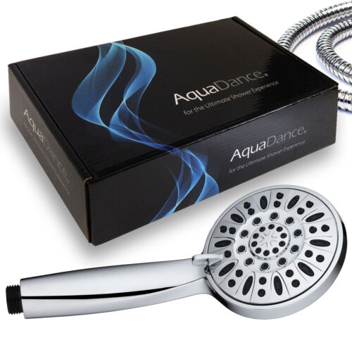 """AquaDance High Pressure 6-Setting 4/"""" Chrome Face Hand Held Shower Head with Hose"""