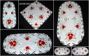 Beau-brode-Ovale-Carre-Blanc-Chemin-de-Table-Nappe-Couverture-Coquelicot-Rouge