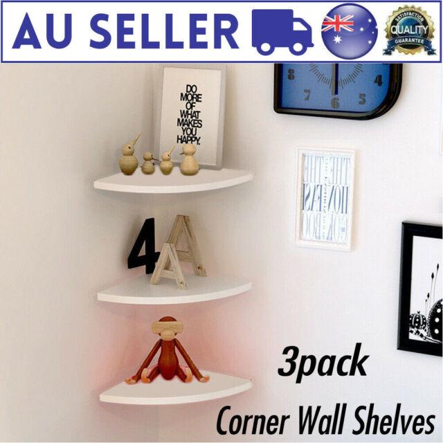 3Pcs Floating Corner Wall Shelf Storage Rack Bookshelves Home Office Decor White