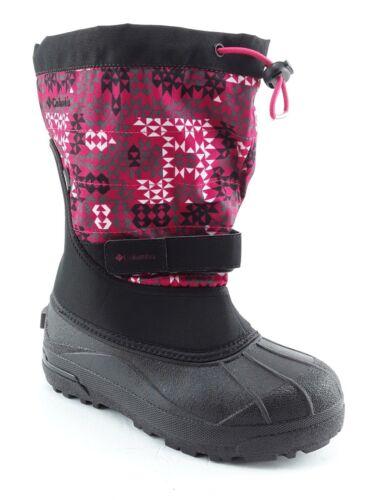 COLUMBIA YOUTH POWDERBUG PLUS II PRINT GIRL/'S WINTER BOOTS RED//BLACK US 7  S331