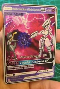 Shadow-MEWTWO-and-Meca-MEWTWO-Pokemon-GX-jour-equipe-Custom-Card-dans-HOLO-proxy