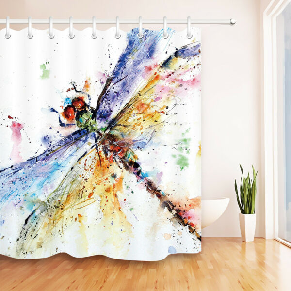 Waterpoof Fabric Shower Curtain Hooks Bathroom Mat Colorful Watercolor Dragonfly Hover To Zoom