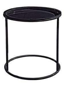 Beistelltisch-mit-abnehmbarem-Tablett-Schwarz-46-cm-Nachttisch-Tisch-Metall
