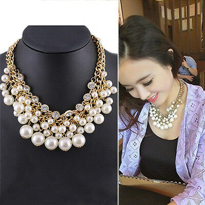 Women New Faux Pearl Clavicle Chocker Jewelry Party Gift Necklace DE