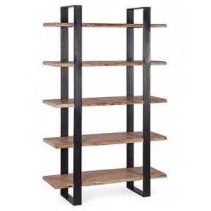 Libreria Scaffale Legno.Dettagli Su Libreria Scaffale Design Moderno In Ferro E Legno