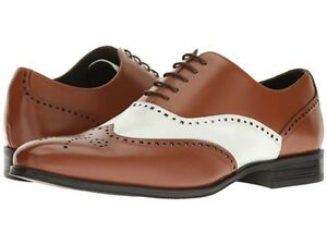 Stacy Adams Mens shoes Stockwell Wingtip Oxford  White Cognac Leather 25073-128