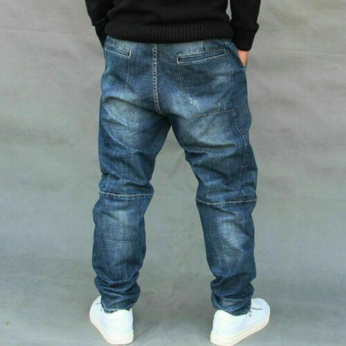 Herren Harem Denim-Hose Hose Tiefer Schritt Distressed Verblichen Jeans Freizeit