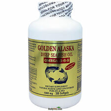 Golden Alaska Deep Sea Fish Oil Omega 3-6-9 1000mg 300 Softgels, FRESH, DHA/EPA