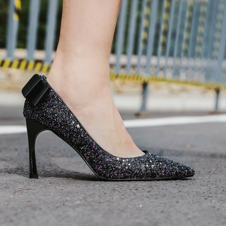 Womens High Heels Pointed Toe Sparkly Pumps Slip On Bling Party Prom shoes Sexy