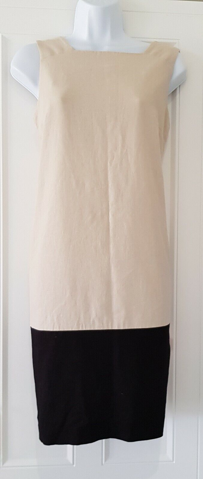 Womens Beige Black Colourblock Linen Mix Sleeveless Tunic Pinafore Shift Dress10