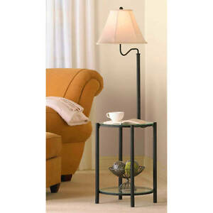 glass end table with built in floor lamp table lamp. Black Bedroom Furniture Sets. Home Design Ideas
