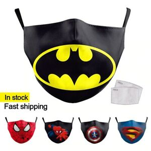 MASQUE-DE-PROTECTION-ENFANT-BATMAN-SPIDERMAN-SUPERMAN-CAPTAIN-PM2-5-FILTRE-NEUF